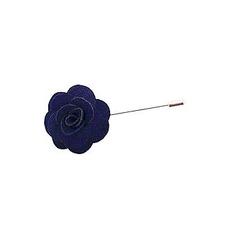 Dobell Mens Navy Blue Flower Lapel Pin for Suit, Jacket, Blazer, Wedding Accessory