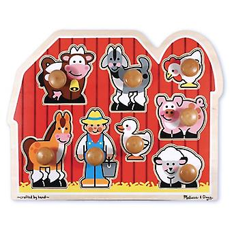Melissa & Doug Farm Friends Large Wooden Peg Puzzle