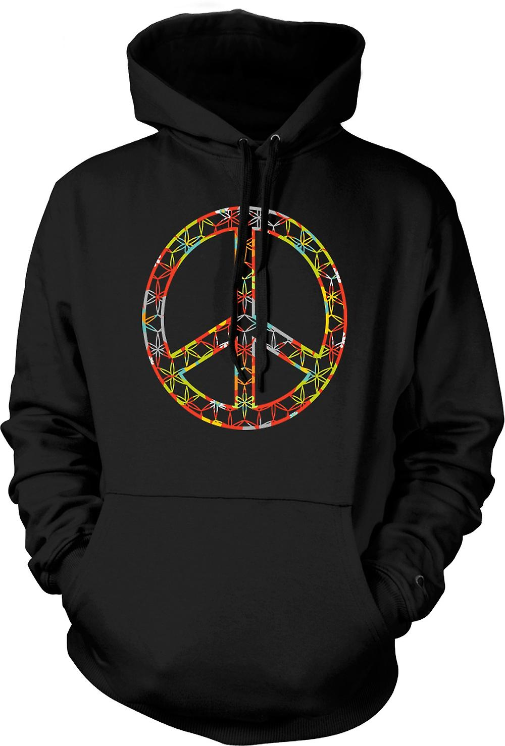 Mens Hoodie - Floral Peace Sign - CND