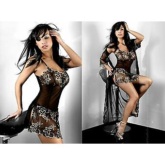 Livco Corsetti Sexy Lingerie Black 'Hera' Babydoll with Floral Detail
