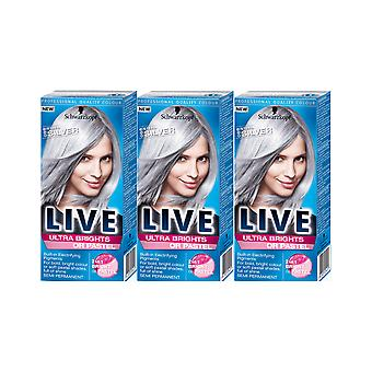 Schwarzkopf Live Ultra Brights 098 Steel Silver Semi-Permanent Hair Dye 3 For 2