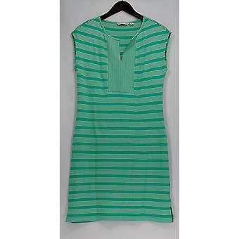 Isaac Mizrahi Live! Dress Sleeveless Striped Knit Green A276749