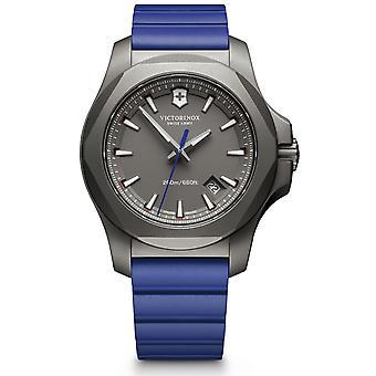 Victorinox Swiss Army I.N.O.X Blue Rubber Grey Titanium Quartz Mens Watch 241759
