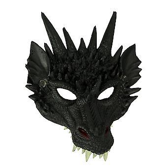 Black Horned Dragon Mousse En caoutchouc Adulte Masque d'Halloween Costume Accessoire
