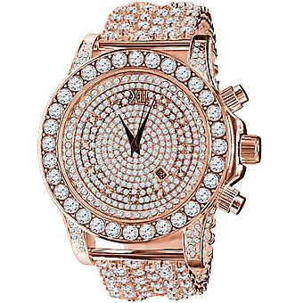 BURNISH High Quality FULL ICED OUT ZIRKONIA Watch - rose gold