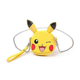 Pokemon Monedero Pikachu Winking Forma Cara con cadena oficial Nintendo Yellow