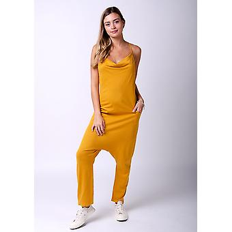Jools jersey jumpsuit in gold