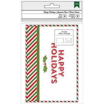American Crafts Cards W/Envelopes 8/Pkg-Happy Holidays 340598