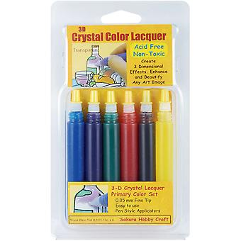 3 D Crystal Lacquer Color Pens 6 Pkg Primary 3001