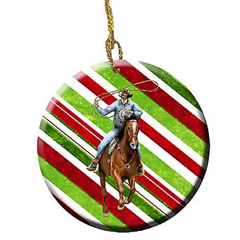 Hest Roper Candy Cane Holiday Christmas keramiske Ornament SB3138CO1