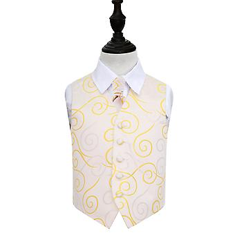 Boy's Gold Scroll Wedding Waistcoat & Cravat Set
