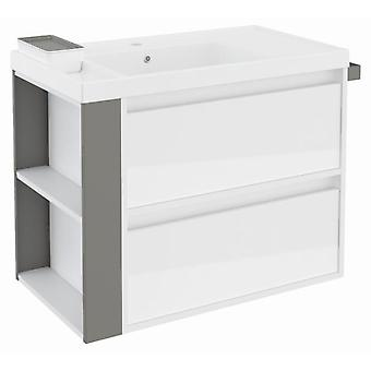 Bath+ Cabinet 2 drawers Basin Resin Gloss White Grey 80CM
