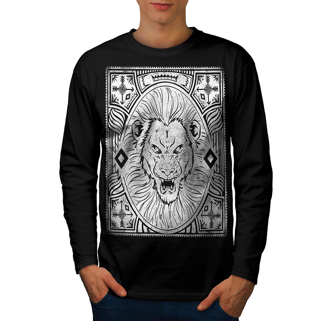 Angry Lion Face Vintage Men Black Long Sleeve T-shirt | Wellcoda