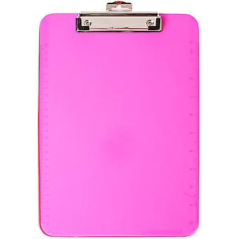 Low Profile Neon Plastic Clipboard-Pink CL897-55