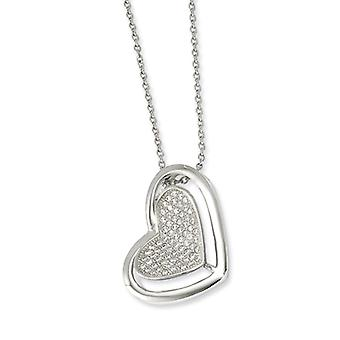 Sterling Silver Pave Rhodium-plated Lobster Claw Closure and Cubic Zirconia Polished Heart Necklace - 18 Inch