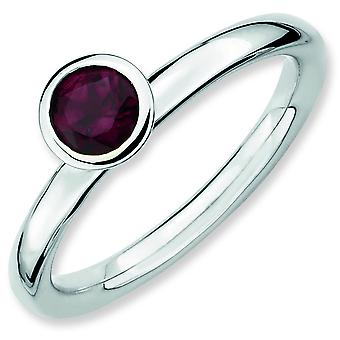 Sterling Silver Expressions empilable haut 5 mm ronde Rhod. Bague grenat - bague taille : 5 à 10