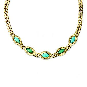 Laundry Gold-tone Resin and Simulated Composite Stone16in Necklace