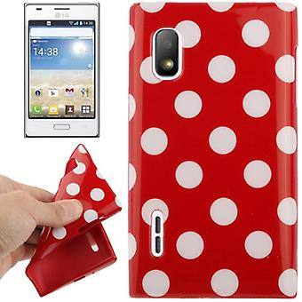 Protective case TPU points of case for mobile LG Optimus L5 / E610 red/white