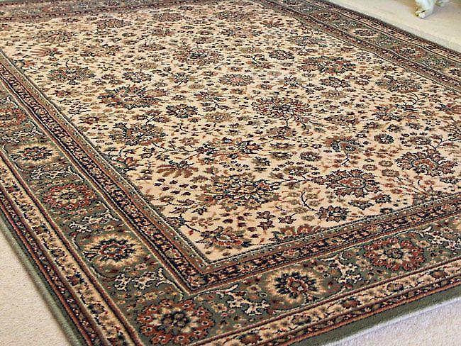 Royal Green 1561-508 Ivory ground with green border and touches of beige Rectangle Rugs Traditional Rugs