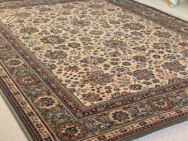 Marfil verde real 1561-508 tierra con borde verde y toques de beige rectángulo alfombras alfombras tradicionales