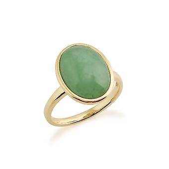 Gemondo 9ct Yellow Gold 3ct Green Jade Framed Ring