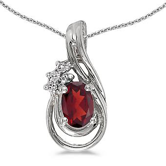 10k White Gold Oval Garnet And Diamond Teardrop Pendant with 18