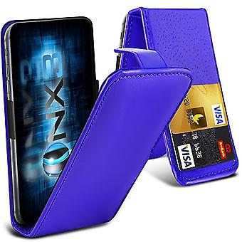 ONX3 (Blue) Huawei Honor 8 Lite Universal Luxury Style Folding PU Leather Spring Clamp Holder Top Flip Case with 2 Cards Slot, Slide Up and Down Camera