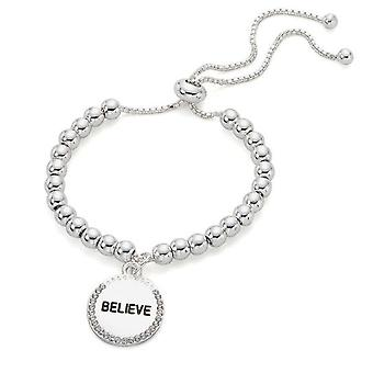 Jewel City Believe Bracelet With Engraved Pendant - Silver