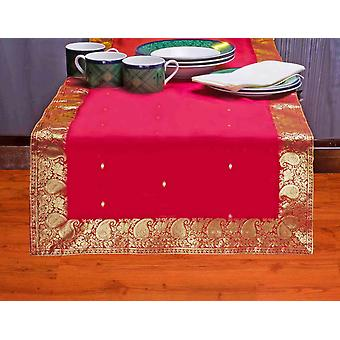 Fire Brick-Hand Crafted Table Runner (India)
