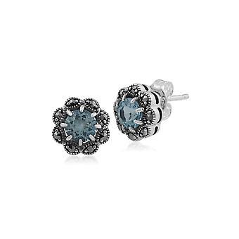 Gemondo szterling srebrny, niebieski Topaz & markazytu Art Nouveau kolczyki