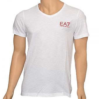 EA7 Emporio Armani Sea World Core Eagle V-Neck T-Shirt, White, Large