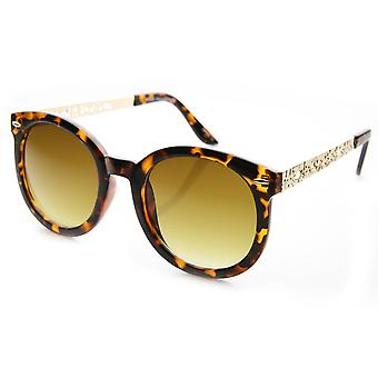 Womens Oversized Chic Metal Cut-Out Temple Round Cat Eye Sunglasses