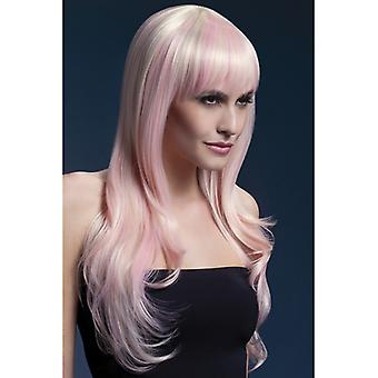 Wig with pink highlights