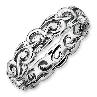 Sterling Silver Patterned Rhodium-plated Stackable Expressions Polished Ring - Ring Size: 5 to 10
