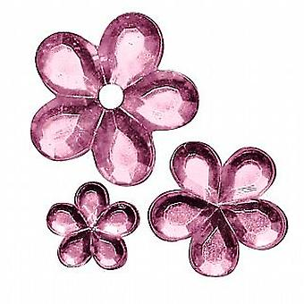 310 Flower Shaped Acrylic Rhinestones for Crafts - Pink