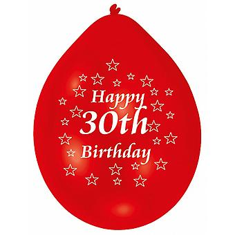 Amscan Happy 30th Birthday Multicoloured Party Balloons (Pack Of 10)