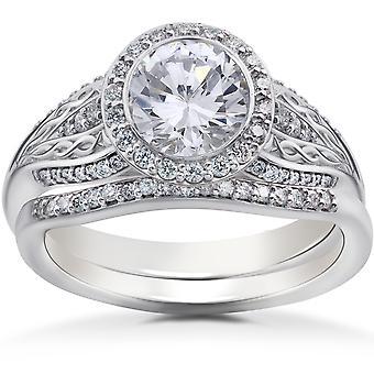 1 1/5ct Lab Grown Diamond Zoe Engagement Ring & Matching Wedding Band White Gold