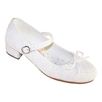 Girls white sparkly flower girl bridesmaid heeled shoes