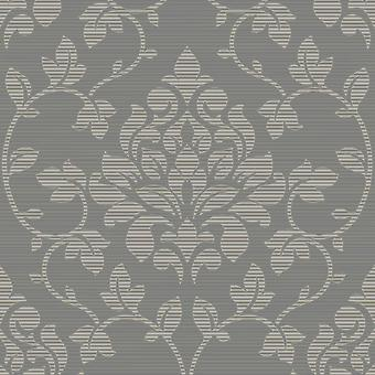 Silver Damask Wallpaper Glitter Charcoal Textured Effect Elite Grandeco Luxury