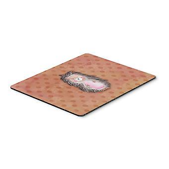 Polkadot Hedgehog Watercolor Mouse Pad, Hot Pad or Trivet