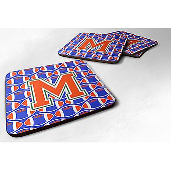 Set of 4 Letter M Football Green, Blue and Orange Foam Coasters Set of 4