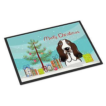 Christmas Tree and Basset Hound Indoor or Outdoor Mat 24x36