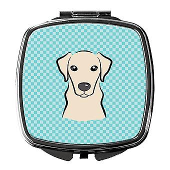 Carolines Treasures  BB1160SCM Checkerboard Blue Yellow Labrador Compact Mirror