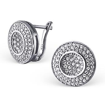 Micro Pavé Setting Round - 925 Sterling Silver Cubic Zirconia Ear Studs - W20403x