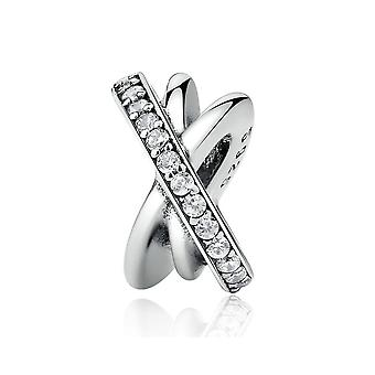 Argent sterling charme Crossed anneaux PSC003