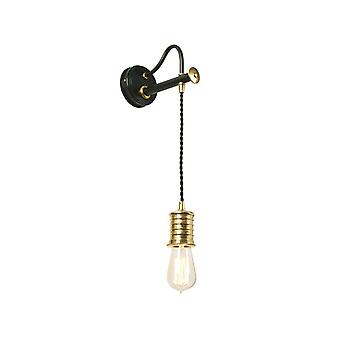 Douille Black And Polished Brass Wall Light - Elstead Lighting Douille1 Bpb