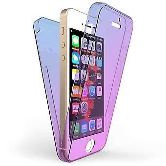 IPhone 5 / 5 s / SE Ganzkörper 360 TPU Gel Case - blau / lila