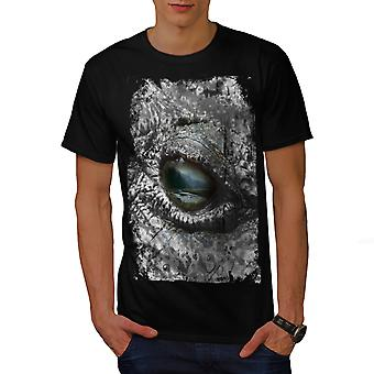 Aligator øje vilde dyrs mænd sorte T-shirt | Wellcoda
