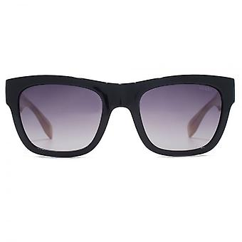 Guess Triangle Logo Square Sunglasses In Shiny Black Pink