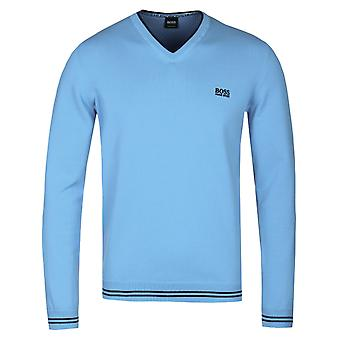 BOSS Athleisure Sky Blue V-Neck Knitted Cotton Jumper